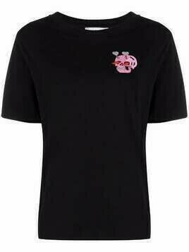 Essentiel Antwerp beaded skull-patch T-shirt - Black