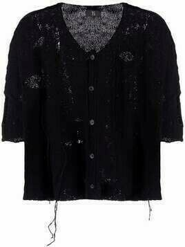 Y's chunky-knit short sleeved cardigan - Black