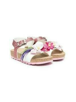Monnalisa flower applique sandals - PINK