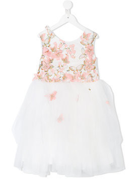 Le Mu butterfly embroidered tulle dress - White