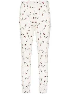 Adam Selman Sport rose print track pants - White