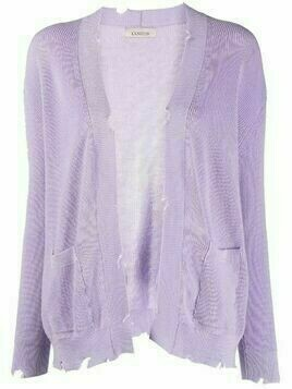 Laneus distressed-effect cotton cardigan - Purple