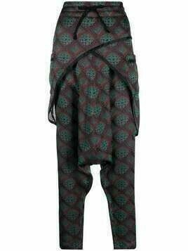 Dries Van Noten Pre-Owned 2000s drop-crotch jacquard trousers - Green