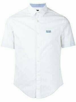 BOSS button-down embroidered logo shirt - White