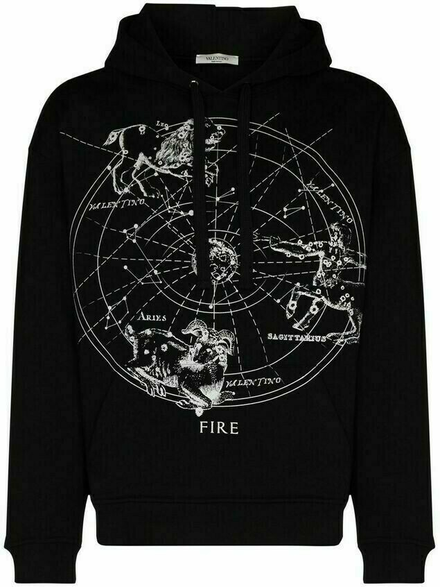 Valentino Zodiac-map cotton hoodie - Black