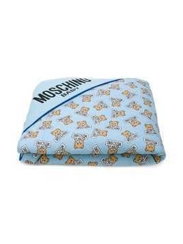 Moschino Kids teddy bear print blacket - Blue