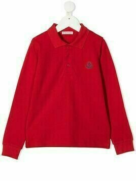 Moncler Kids logo-patch polo shirt - Red