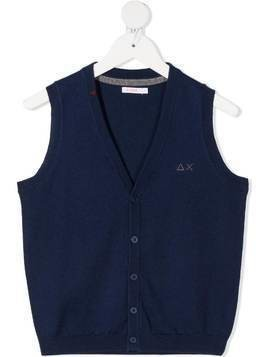 Sun 68 Kids knitted button-front vest - Blue