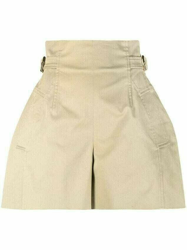 Alberta Ferretti adjustable-waist shorts - Neutrals