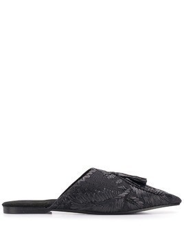 Antik Batik Puppa bead embroidery mules - Black