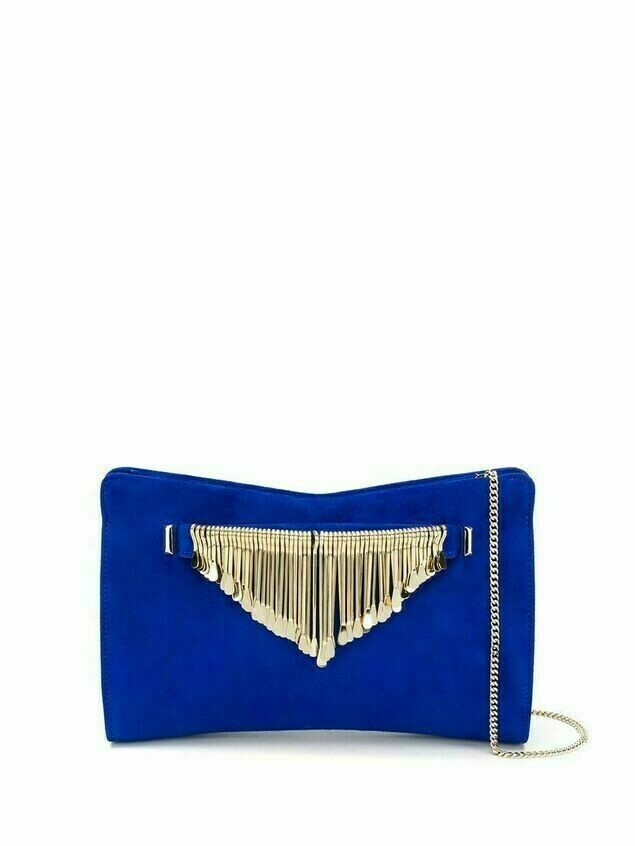 Jimmy Choo Venus fringed clutch - Blue