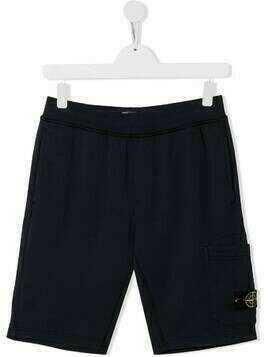 Stone Island Junior TEEN logo patch track shorts - Blue