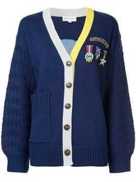Mira Mikati badge and patch cardigan - Blue