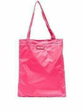 Miu Miu logo patch tote bag - PINK