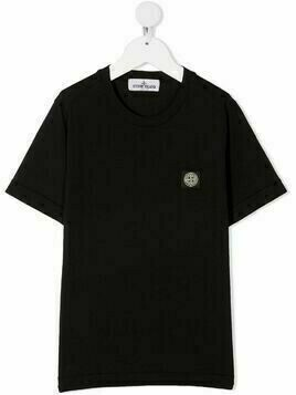 Stone Island Junior embroidered logo patch T-shirt - Black