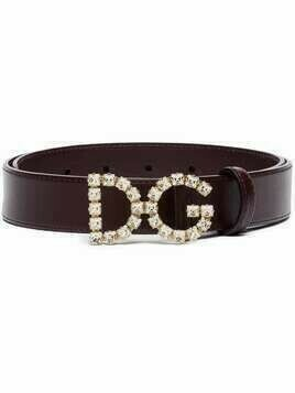 Dolce & Gabbana DG crystal logo belt - PURPLE