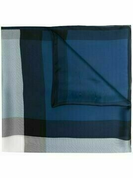 Burberry lightweight fluid check scarf - Blue