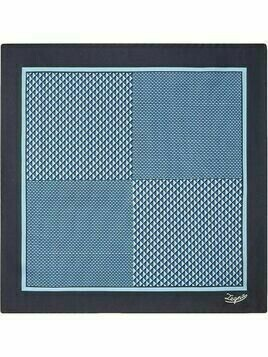 Ermenegildo Zegna graphic-print silk pocket square - Blue