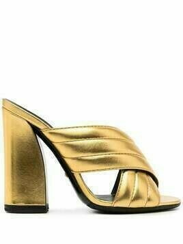 Gucci Pre-Owned crisscross high heeled mules - Gold