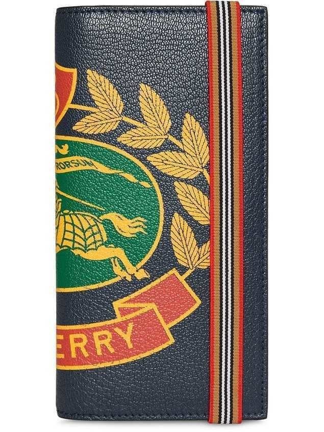 Burberry Crest Print Leather Continental Wallet - Blue