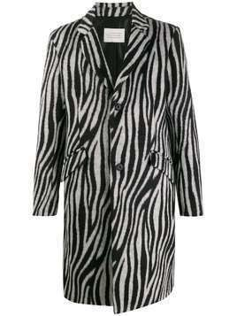 Route Des Garden zebra print single-breasted coat - Black