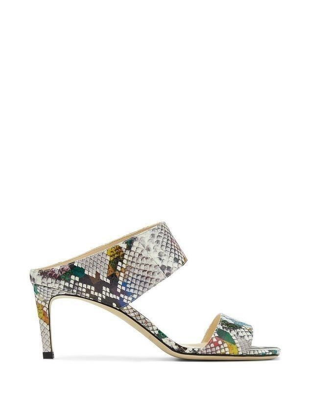 Jimmy Choo Hira 65mm snakeskin sandals - Grey