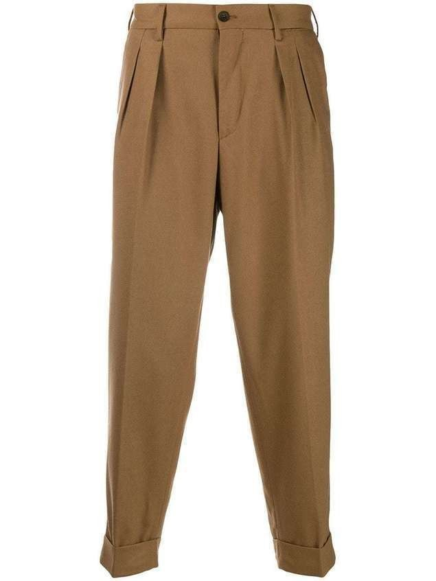 Pt01 feather detail tailored trousers - Brown
