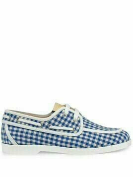 Gucci Kids gingham-check boat shoes - Blue