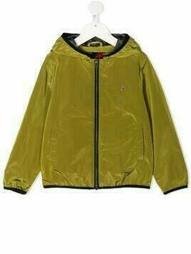 Herno Kids crepe de chine hooded jacket - Green