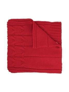 Moncler Kids logo-patch cable knit scarf - Red