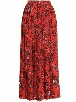Erdem floral-print pleated skirt - Red