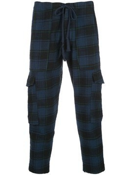 Greg Lauren cropped plaid trousers - Blue