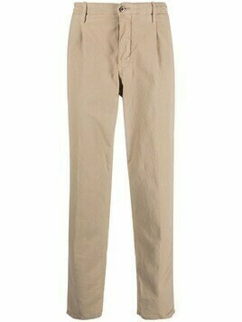 Incotex logo-plaque straight-leg trousers - Neutrals