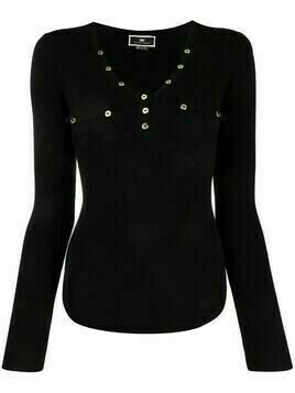 Elisabetta Franchi ribbed V-neck top - Black