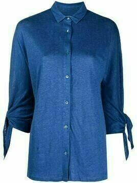 Majestic Filatures tie-sleeve silk-linen blend shirt - Blue