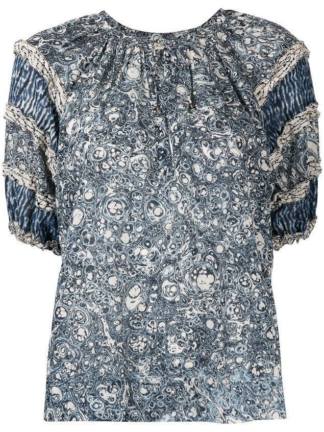 Ulla Johnson patterned-print puff-sleeve blouse - Blue