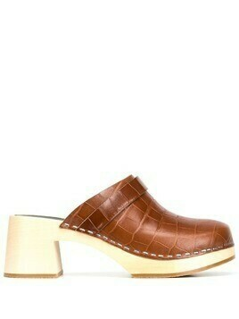 Swedish Hasbeens crocodile-effect leather clogs - Brown