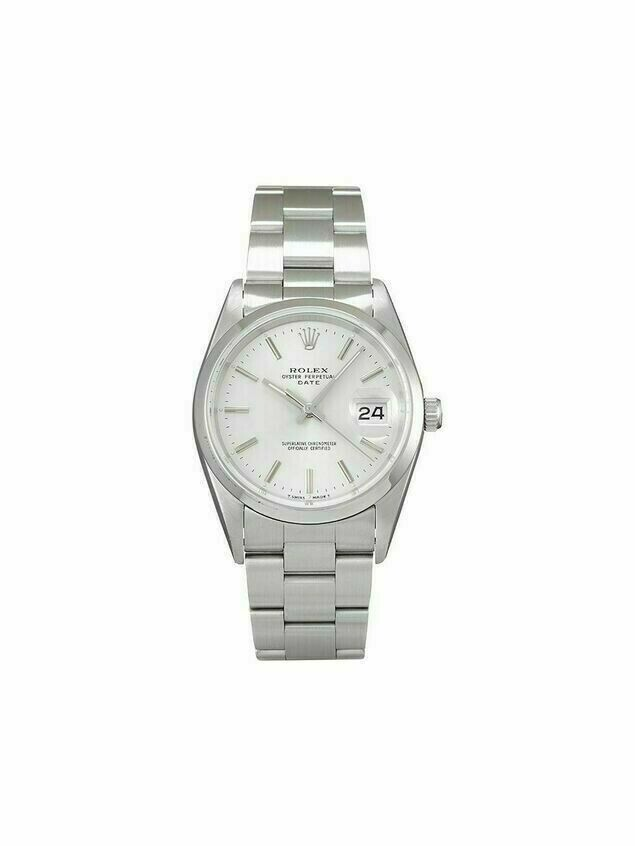 Rolex 1991 pre-owned Date 34mm - SILVER