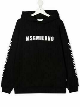 Msgm Kids TEEN logo-print cotton hoodie - Black