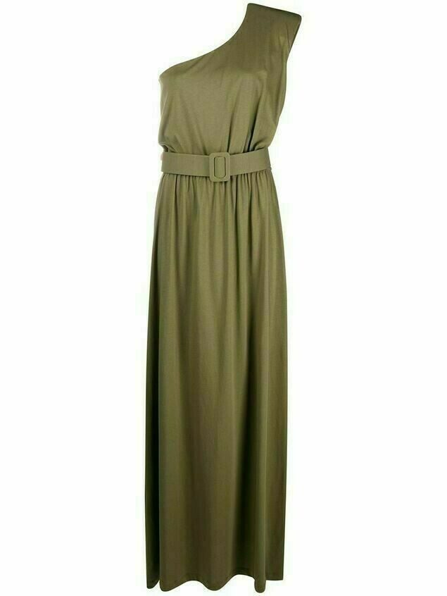 Federica Tosi belted one-shoulder long dress - Green