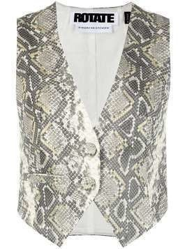 ROTATE snakeskin-print two-button waistcoat - Grey