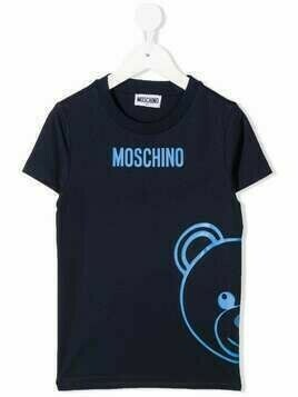 Moschino Kids Teddy Bear logo print T-shirt - Blue