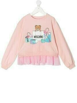 Moschino Kids Teddy Bear ruffled hem sweatshirt - PINK