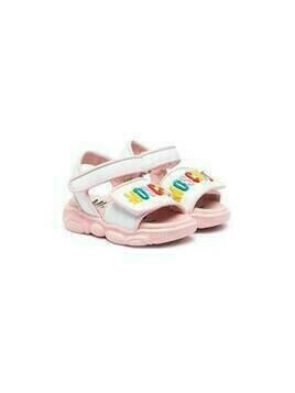 Moschino Kids appliqué logo touch-strap sandals - White