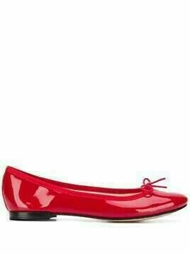 REPETTO bow detail patent ballerina shoes - Red