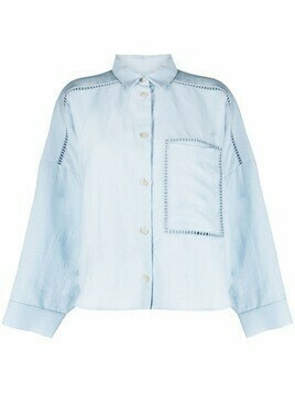 Aeron cut out-detail button-up shirt - Blue