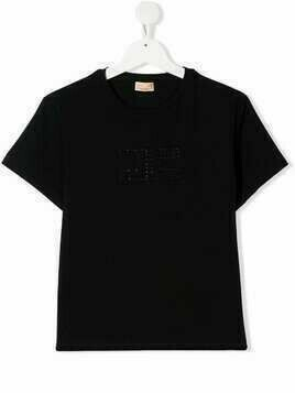 Elisabetta Franchi La Mia Bambina TEEN embossed-logo cotton T-Shirt - Black