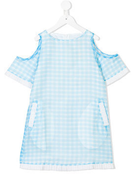 Le Mu gingham cold shoulder dress - Blue