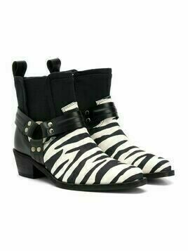 Cinzia Araia Kids TEEN zebra-stripe leather boots - White