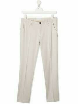 Paolo Pecora Kids TEEN mid-rise straight-leg trousers - Neutrals